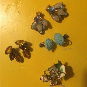 4 Pairs of Vintage Clip-on Earrings